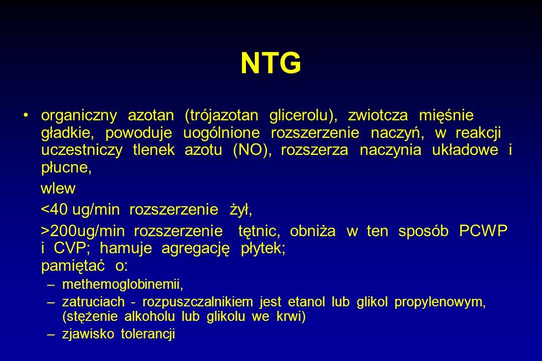 NTG organiczny azotan (trójazotan glicerolu), zwiotcza mięśnie gładkie, powoduje uogólnione rozszerzenie naczyń, w reakcji uczestniczy tlenek azotu (N