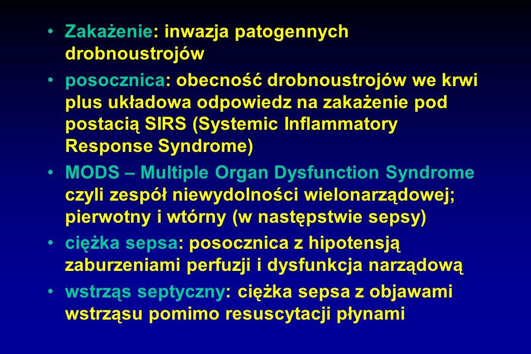 Zakażenie: inwazja patogennych drobnoustrojów posocznica: obecność drobnoustrojów we krwi plus układowa odpowiedz na zakażenie pod postacią SIRS (Syst
