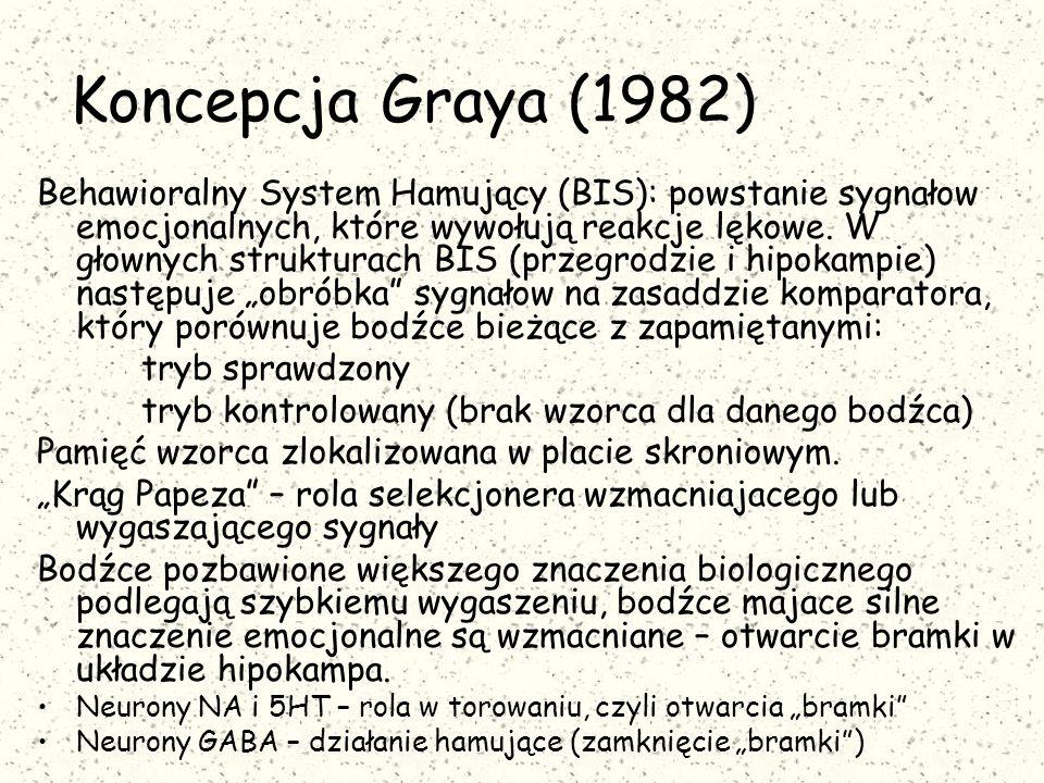 Koncepcja Graya (1982) Behawioralny System Hamujący (BIS): powstanie sygnałow emocjonalnych, które wywołują reakcje lękowe. W głownych strukturach BIS