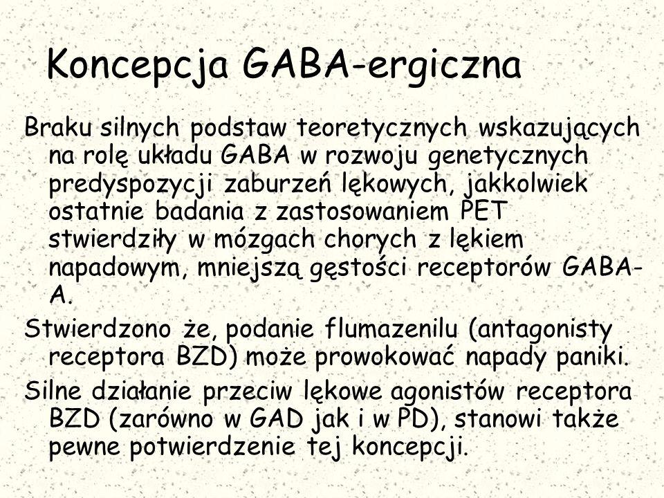 Koncepcja GABA-ergiczna Braku silnych podstaw teoretycznych wskazujących na rolę układu GABA w rozwoju genetycznych predyspozycji zaburzeń lękowych, jakkolwiek ostatnie badania z zastosowaniem PET stwierdziły w mózgach chorych z lękiem napadowym, mniejszą gęstości receptorów GABA- A.