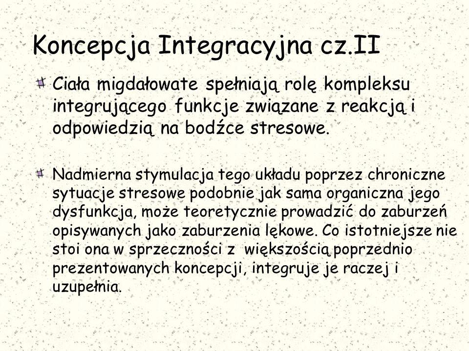 Koncepcja Integracyjna cz.II Ciała migdałowate spełniają rolę kompleksu integrującego funkcje związane z reakcją i odpowiedzią na bodźce stresowe.