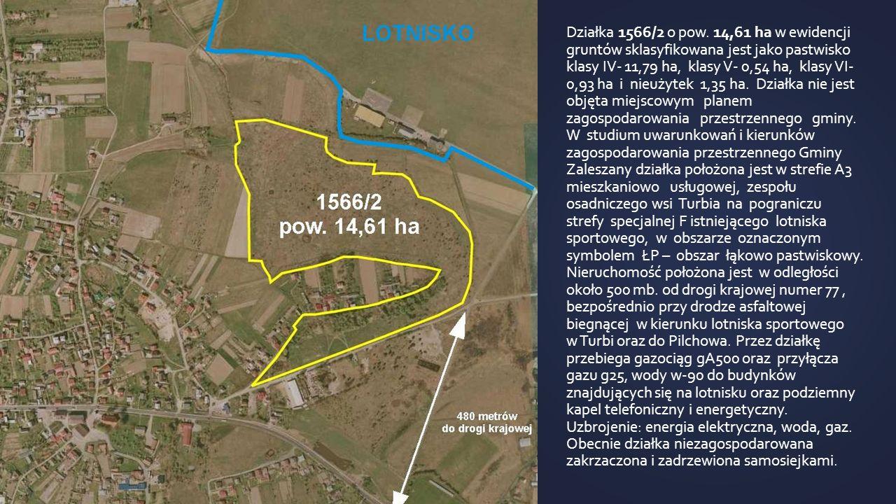 Działka 1566/2 o pow. 14,61 ha w ewidencji gruntów sklasyfikowana jest jako pastwisko klasy IV- 11,79 ha, klasy V- 0,54 ha, klasy VI- 0,93 ha i nieuży