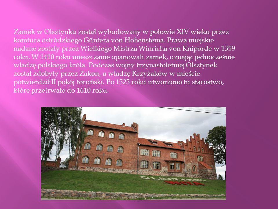 Zamek w Olsztynku został wybudowany w połowie XIV wieku przez komtura ostródzkiego Güntera von Hohensteina. Prawa miejskie nadane zostały przez Wielki