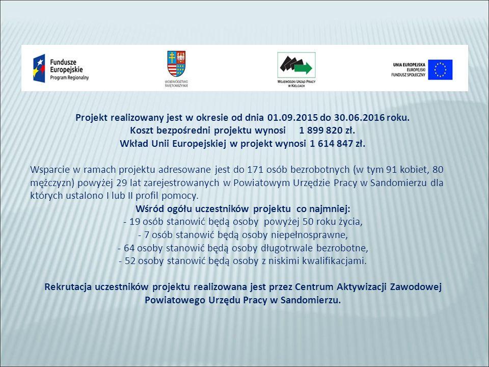Celem projektu jest zwiększenie możliwości zatrudnienia 171 osób bezrobotnych powyżej 29 roku życia pozostających bez pracy w powiecie sandomierskim.