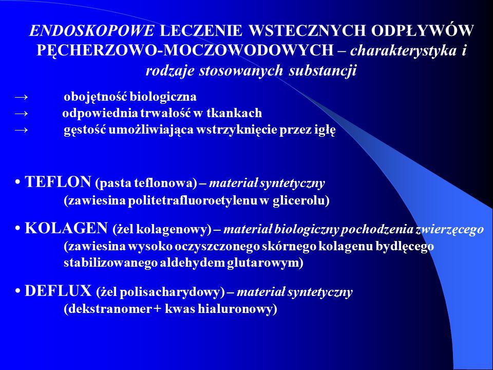 ENDOSKOPOWE LECZENIE WSTECZNYCH ODPŁYWÓW PĘCHERZOWO-MOCZOWODOWYCH – charakterystyka i rodzaje stosowanych substancji →obojętność biologiczna → odpowie