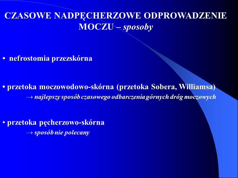 CZASOWE NADPĘCHERZOWE ODPROWADZENIE MOCZU – sposoby nefrostomia przezskórna przetoka moczowodowo-skórna (przetoka Sobera, Williamsa) → najlepszy sposó