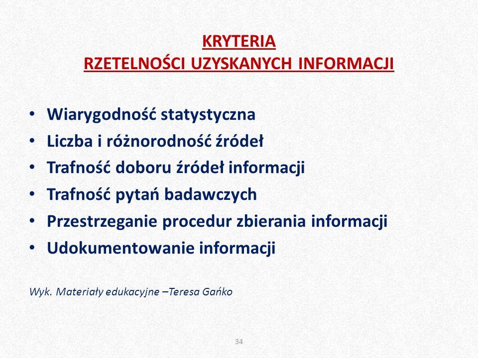 KRYTERIA RZETELNOŚCI UZYSKANYCH INFORMACJI Wiarygodność statystyczna Liczba i różnorodność źródeł Trafność doboru źródeł informacji Trafność pytań badawczych Przestrzeganie procedur zbierania informacji Udokumentowanie informacji Wyk.