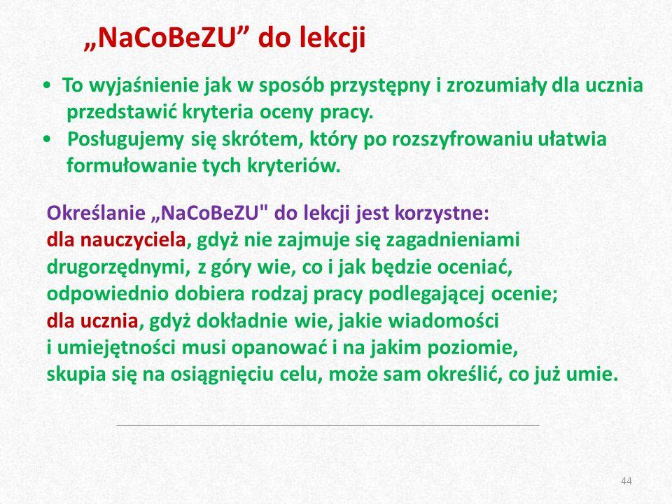 """""""NaCoBeZU"""" do lekcji To wyjaśnienie jak w sposób przystępny i zrozumiały dla ucznia przedstawić kryteria oceny pracy. Posługujemy się skrótem, który p"""