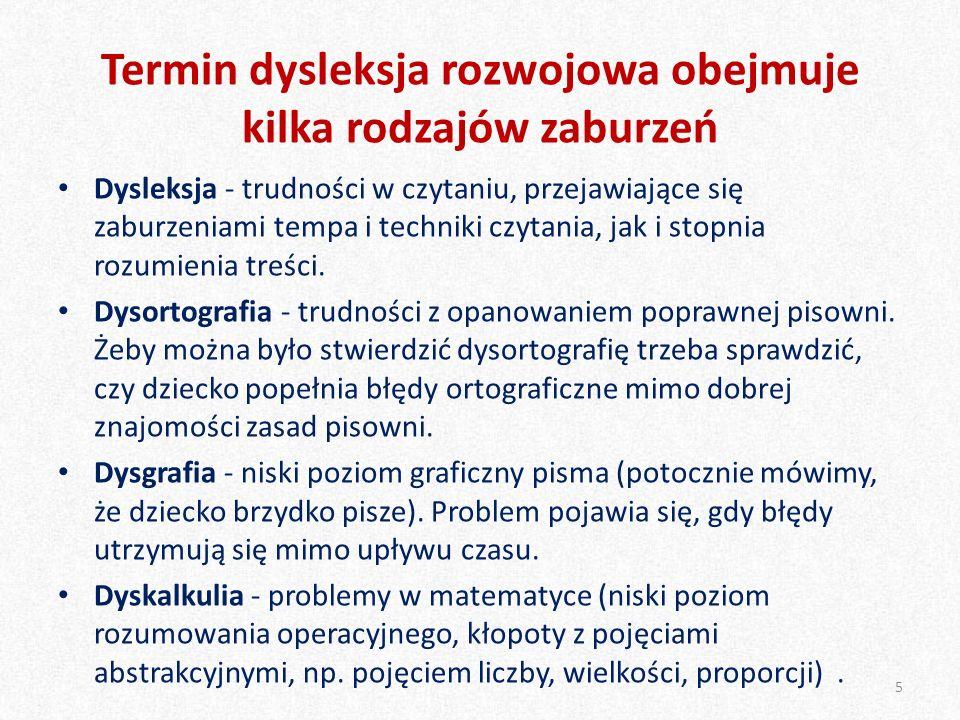 Termin dysleksja rozwojowa obejmuje kilka rodzajów zaburzeń Dysleksja - trudności w czytaniu, przejawiające się zaburzeniami tempa i techniki czytania, jak i stopnia rozumienia treści.