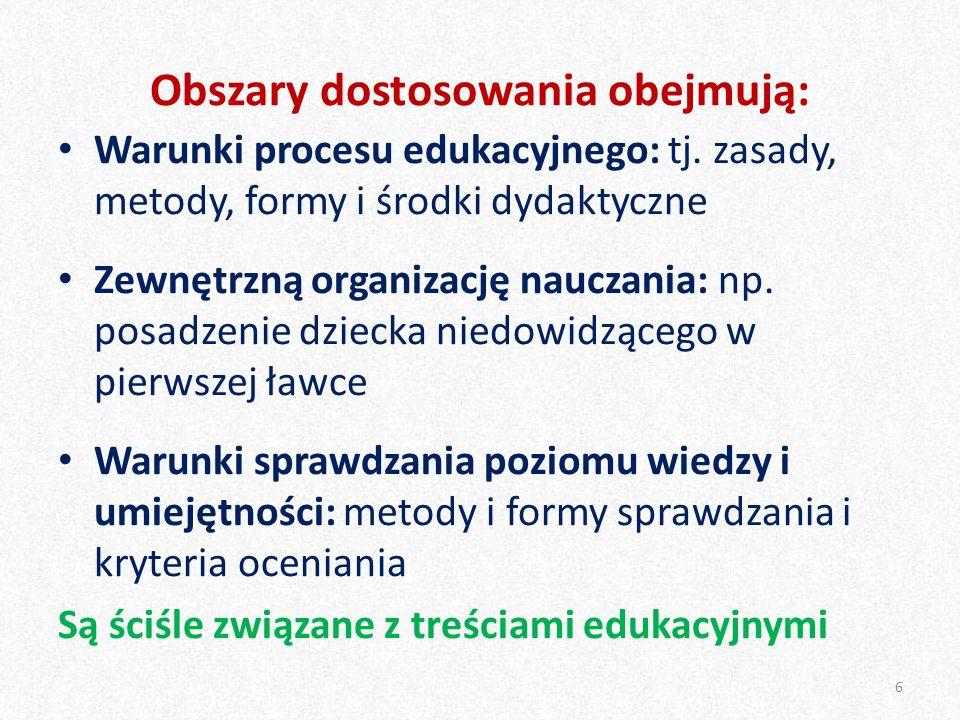 Obszary dostosowania obejmują: Warunki procesu edukacyjnego: tj. zasady, metody, formy i środki dydaktyczne Zewnętrzną organizację nauczania: np. posa