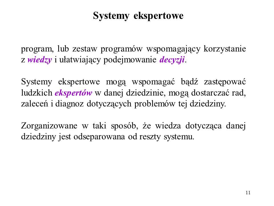 11 Systemy ekspertowe program, lub zestaw programów wspomagający korzystanie z wiedzy i ułatwiający podejmowanie decyzji.