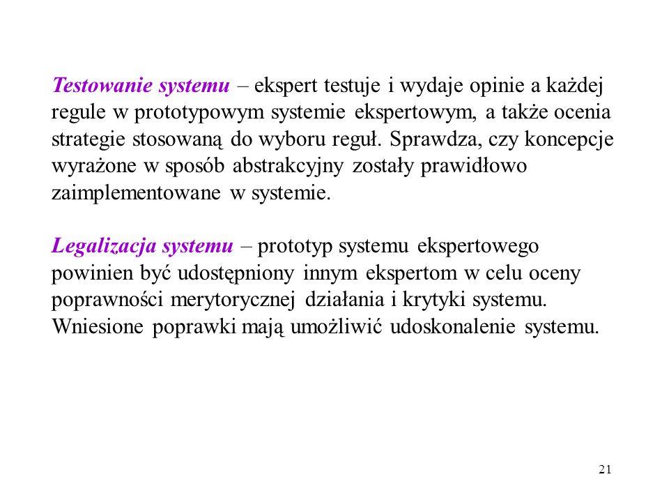 21 Testowanie systemu – ekspert testuje i wydaje opinie a każdej regule w prototypowym systemie ekspertowym, a także ocenia strategie stosowaną do wyboru reguł.
