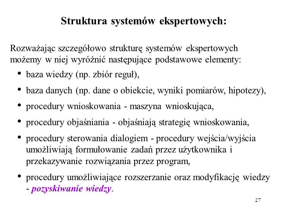 27 Struktura systemów ekspertowych: baza wiedzy (np.