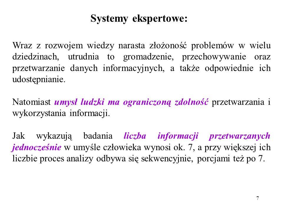 7 Systemy ekspertowe: Wraz z rozwojem wiedzy narasta złożoność problemów w wielu dziedzinach, utrudnia to gromadzenie, przechowywanie oraz przetwarzanie danych informacyjnych, a także odpowiednie ich udostępnianie.