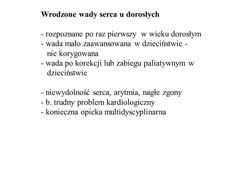 Wady wrodzone u dorosłych * ASD * PFO/ASA * VSD * PDA * Dwupłatkowa zast.