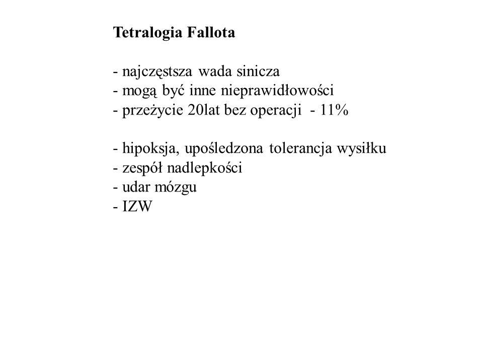 Tetralogia Fallota - sinica - palce pałeczkowate - żyły szyjne - USPK - szmer skurczowy EKG:RVH RTG: zmniejszenie rysunku naczyniowego ECHO: rozpoznanie Leczenie: chirurgiczne zamnknięcie VSD i poszerzenie RVOT