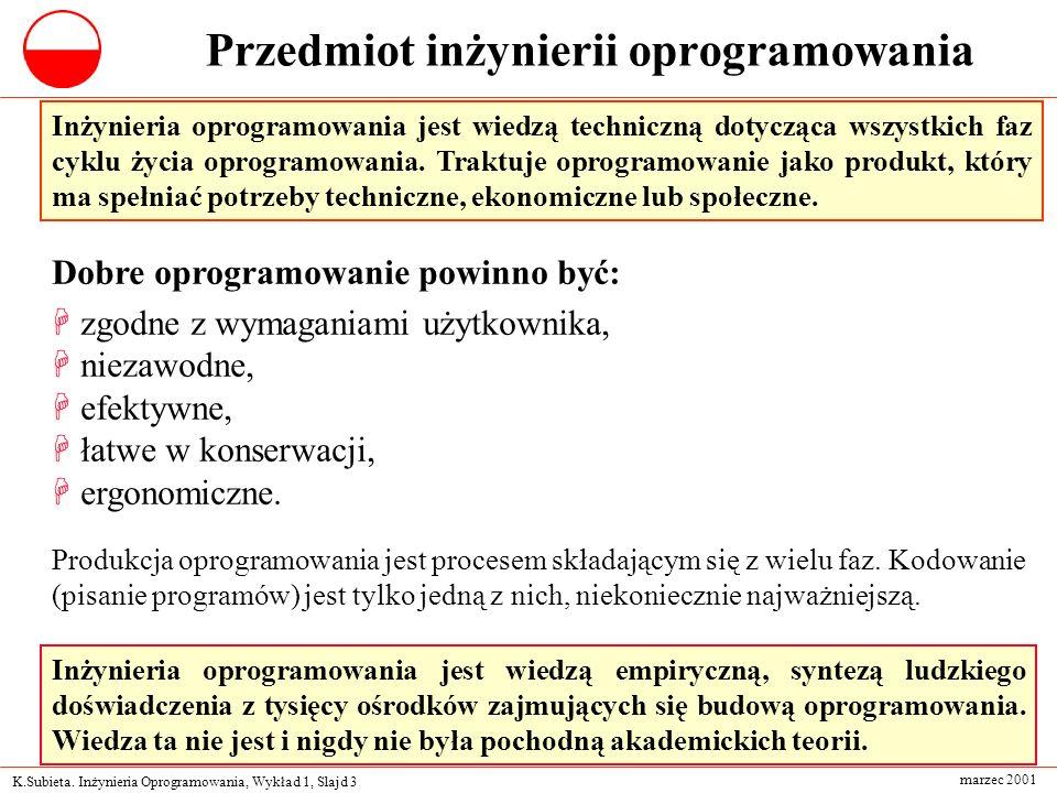 K.Subieta. Inżynieria Oprogramowania, Wykład 1, Slajd 3 marzec 2001 Przedmiot inżynierii oprogramowania Inżynieria oprogramowania jest wiedzą technicz