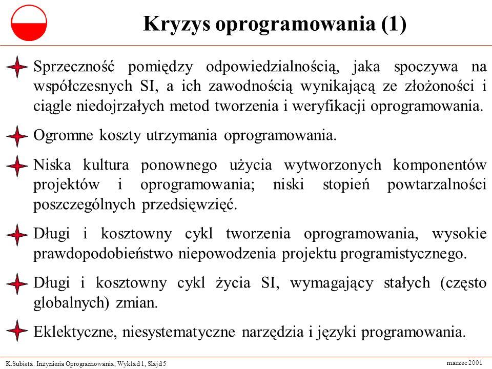 K.Subieta. Inżynieria Oprogramowania, Wykład 1, Slajd 5 marzec 2001 Kryzys oprogramowania (1) Sprzeczność pomiędzy odpowiedzialnością, jaka spoczywa n