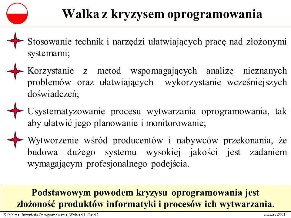 K.Subieta. Inżynieria Oprogramowania, Wykład 1, Slajd 7 marzec 2001 Walka z kryzysem oprogramowania Stosowanie technik i narzędzi ułatwiających pracę