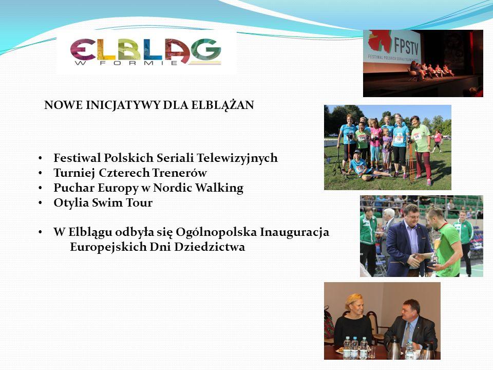 NOWE INICJATYWY DLA ELBLĄŻAN Festiwal Polskich Seriali Telewizyjnych Turniej Czterech Trenerów Puchar Europy w Nordic Walking Otylia Swim Tour W Elblągu odbyła się Ogólnopolska Inauguracja Europejskich Dni Dziedzictwa