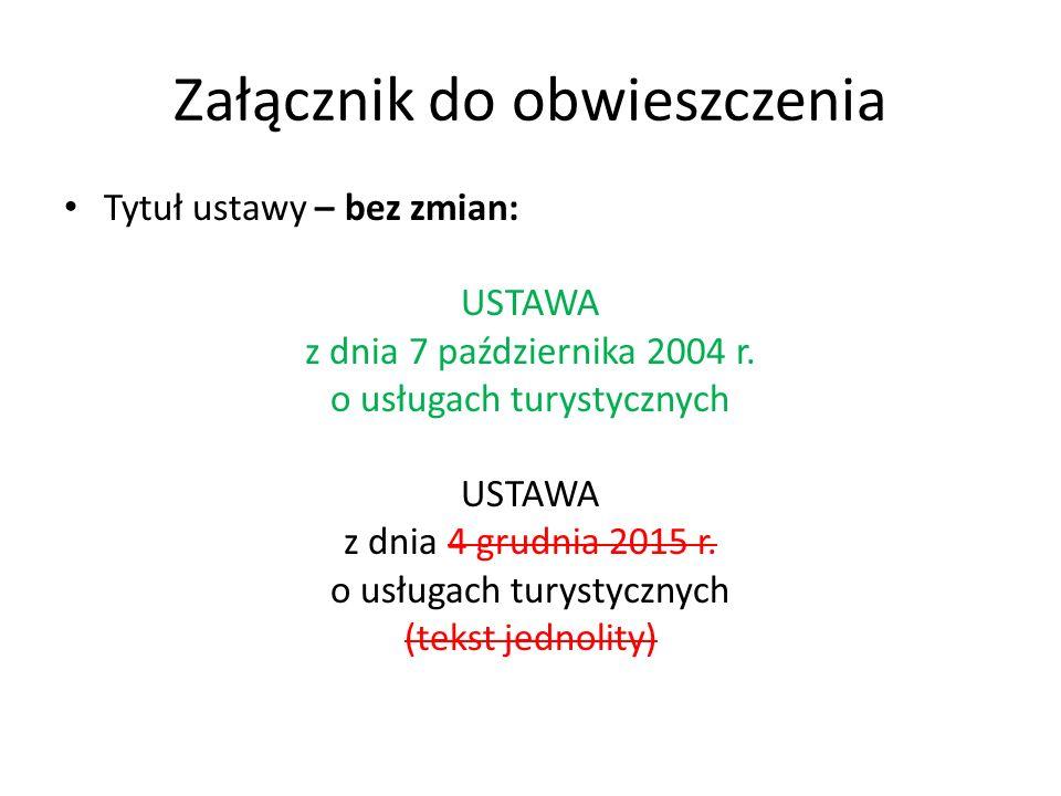 Załącznik do obwieszczenia Tytuł ustawy – bez zmian: USTAWA z dnia 7 października 2004 r.