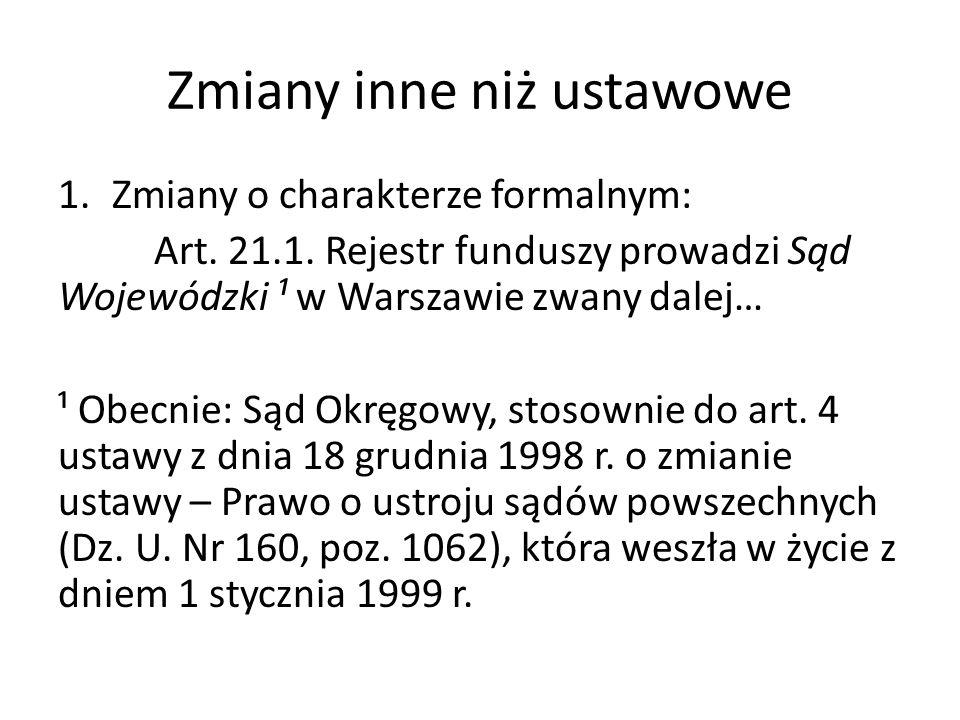 Zmiany inne niż ustawowe 1.Zmiany o charakterze formalnym: Art.