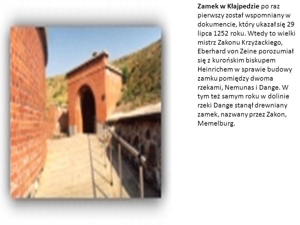 Zamek w Kłajpedzie po raz pierwszy został wspomniany w dokumencie, który ukazał się 29 lipca 1252 roku. Wtedy to wielki mistrz Zakonu Krzyżackiego, Eb