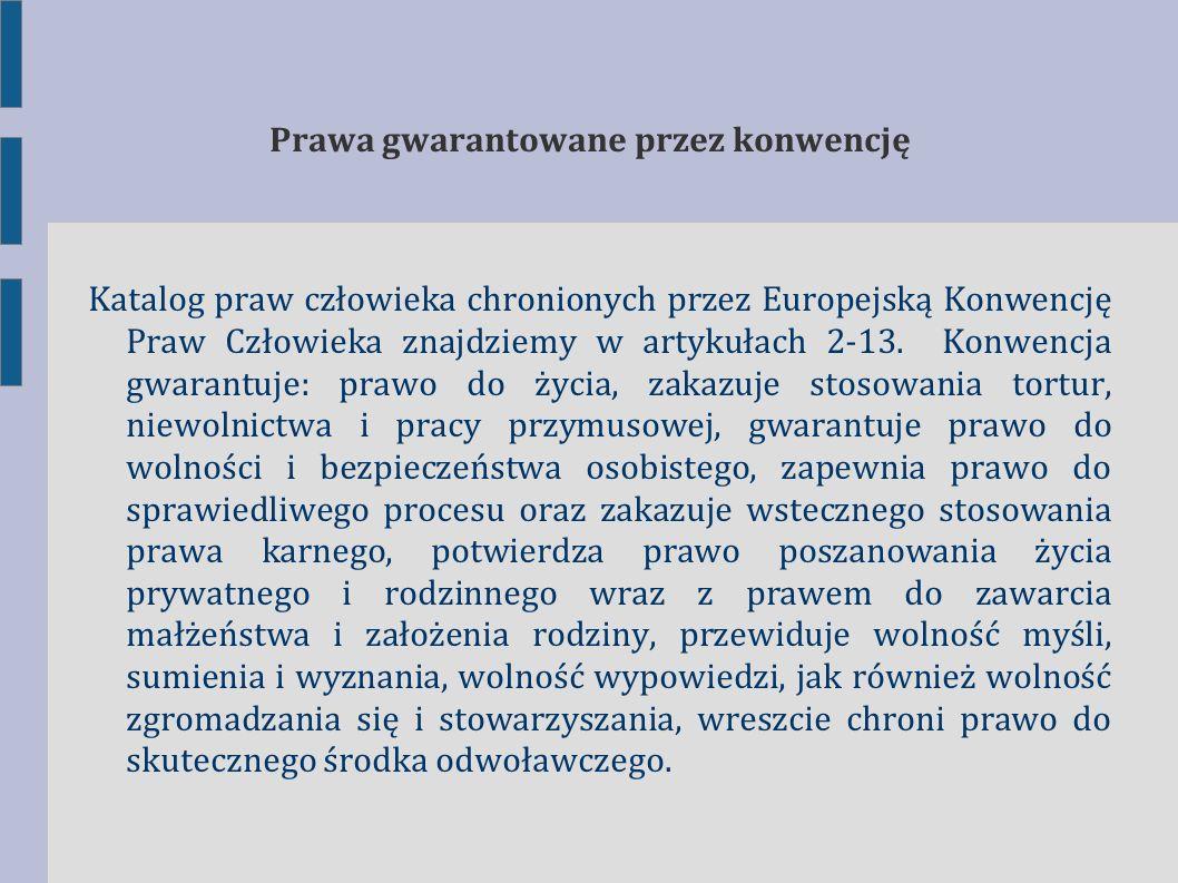 Katalog praw i wolności gwarantowanych przez EKPCz prawo do życia (art.
