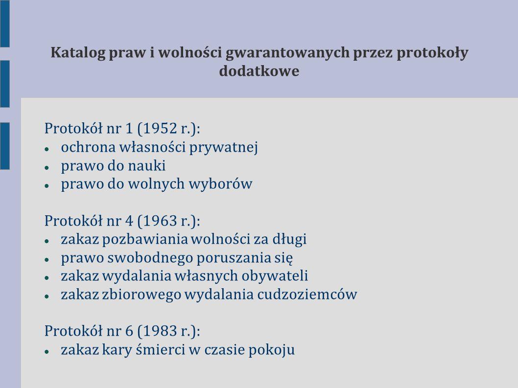 Protokół nr 7 (1984 r.): gwarancje proceduralne przy wydalaniu cudzoziemców prawo do odwołania w sprawach karnych odszkodowanie za niesłuszne skazanie zakaz ponownego sądzenia lub karania równość małżonków w sferze cywilnoprawnej Protokół nr 12 (2000 r.): ogólny zakaz dyskryminacji Protokół nr 13 (2002 r.): całkowity zakaz kary śmierci (także w czasie wojny) Katalog praw i wolności gwarantowanych przez protokoły dodatkowe