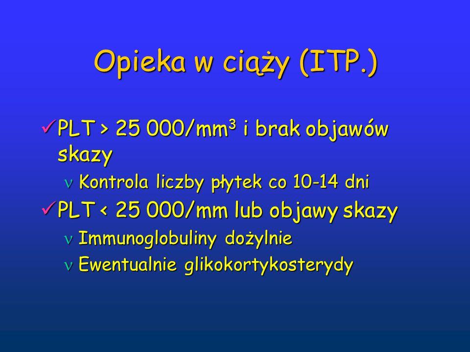 Opieka w ciąży (ITP.) PLT > 25 000/mm 3 i brak objawów skazy PLT > 25 000/mm 3 i brak objawów skazy Kontrola liczby płytek co 10-14 dni Kontrola liczby płytek co 10-14 dni PLT < 25 000/mm lub objawy skazy PLT < 25 000/mm lub objawy skazy Immunoglobuliny dożylnie Immunoglobuliny dożylnie Ewentualnie glikokortykosterydy Ewentualnie glikokortykosterydy
