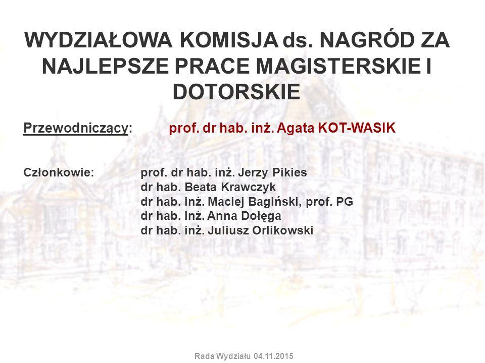 WYDZIAŁOWA KOMISJA ds. NAGRÓD ZA NAJLEPSZE PRACE MAGISTERSKIE I DOTORSKIE Przewodniczący: prof. dr hab. inż. Agata KOT-WASIK Członkowie: prof. dr hab.