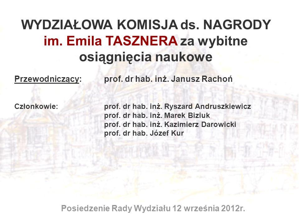 WYDZIAŁOWA KOMISJA ds. NAGRODY im. Emila TASZNERA za wybitne osiągnięcia naukowe Posiedzenie Rady Wydziału 12 września 2012r. Przewodniczący: prof. dr