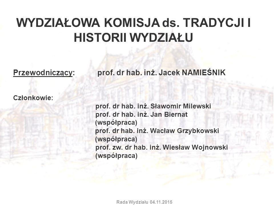 WYDZIAŁOWA KOMISJA ds. TRADYCJI I HISTORII WYDZIAŁU Przewodniczący: prof. dr hab. inż. Jacek NAMIEŚNIK Członkowie: prof. dr hab. inż. Sławomir Milewsk