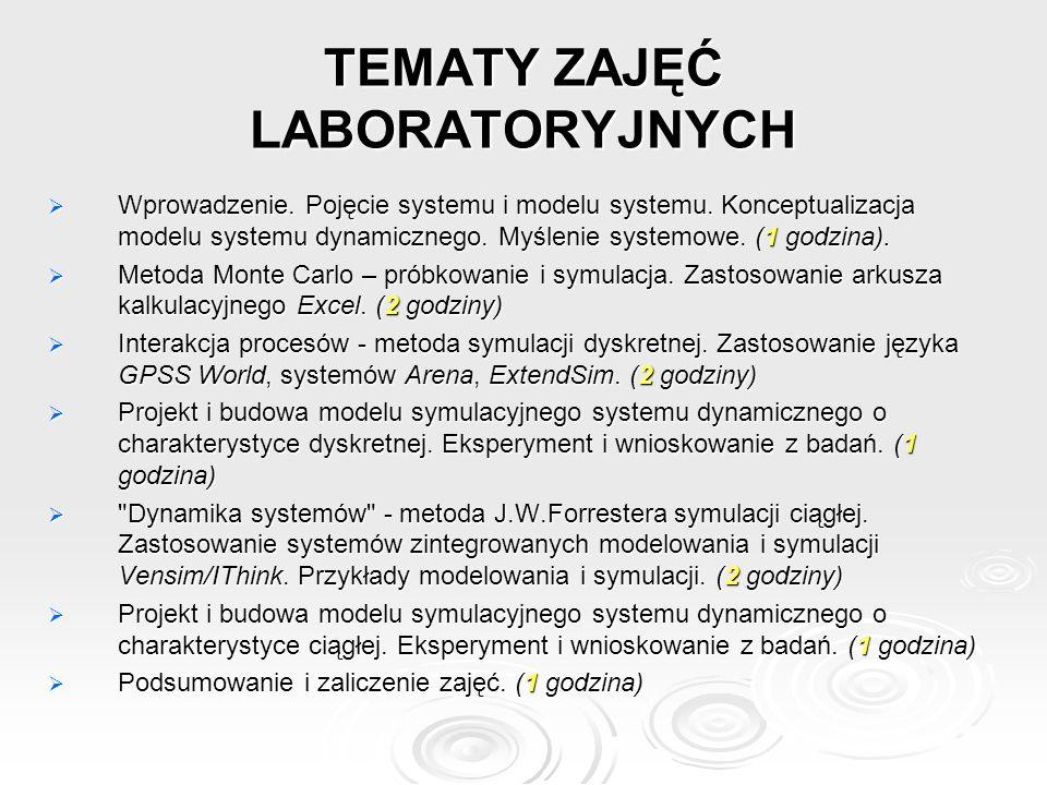 TEMATY ZAJĘĆ LABORATORYJNYCH  Wprowadzenie.Pojęcie systemu i modelu systemu.