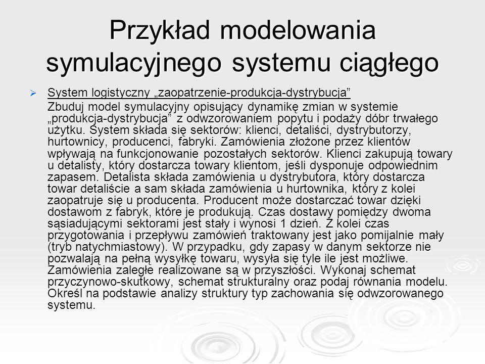 """Przykład modelowania symulacyjnego systemu ciągłego  System logistyczny """"zaopatrzenie-produkcja-dystrybucja Zbuduj model symulacyjny opisujący dynamikę zmian w systemie """"produkcja-dystrybucja z odwzorowaniem popytu i podaży dóbr trwałego użytku."""