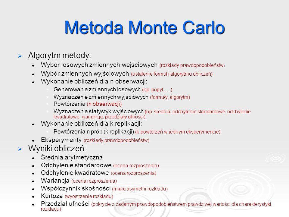 Metoda Monte Carlo  Algorytm metody: Wybór losowych zmiennych wejściowych (rozkłady prawdopodobieństw ) Wybór losowych zmiennych wejściowych (rozkłady prawdopodobieństw ) Wybór zmiennych wyjściowych (ustalenie formuł i algorytmu obliczeń) Wybór zmiennych wyjściowych (ustalenie formuł i algorytmu obliczeń) Wykonanie obliczeń dla n obserwacji: Wykonanie obliczeń dla n obserwacji: Generowanie zmiennych losowych (np.