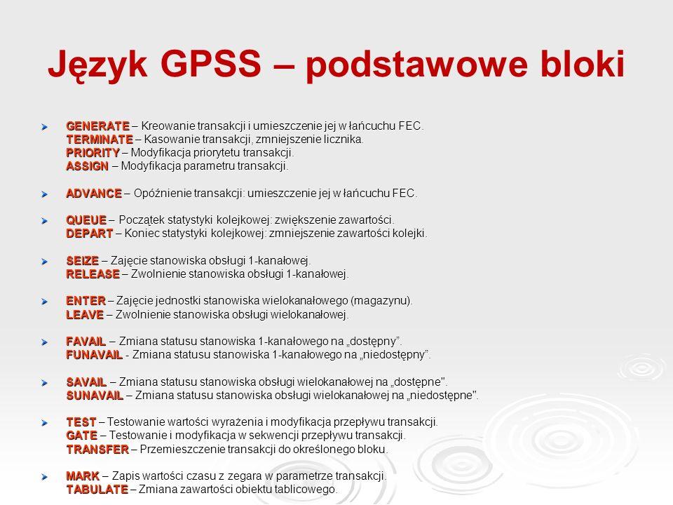 Język GPSS – podstawowe bloki  GENERATE – Kreowanie transakcji i umieszczenie jej w łańcuchu FEC.