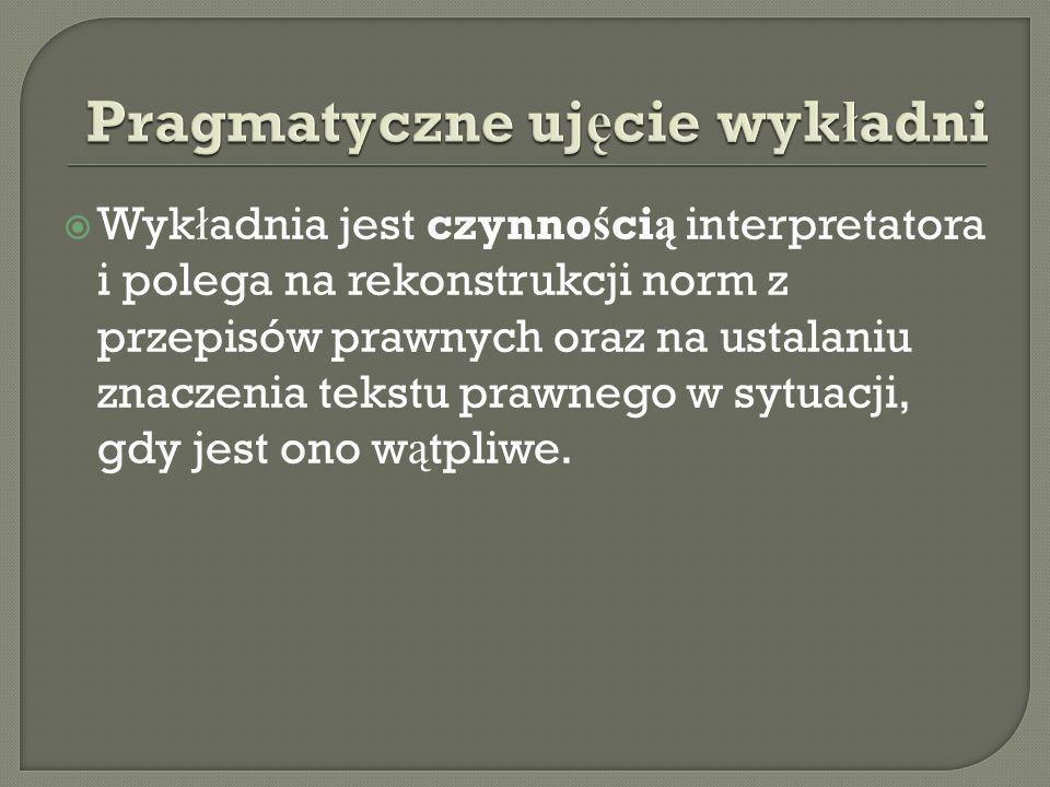  Wyk ł adnia jest czynno ś ci ą interpretatora i polega na rekonstrukcji norm z przepisów prawnych oraz na ustalaniu znaczenia tekstu prawnego w sytu