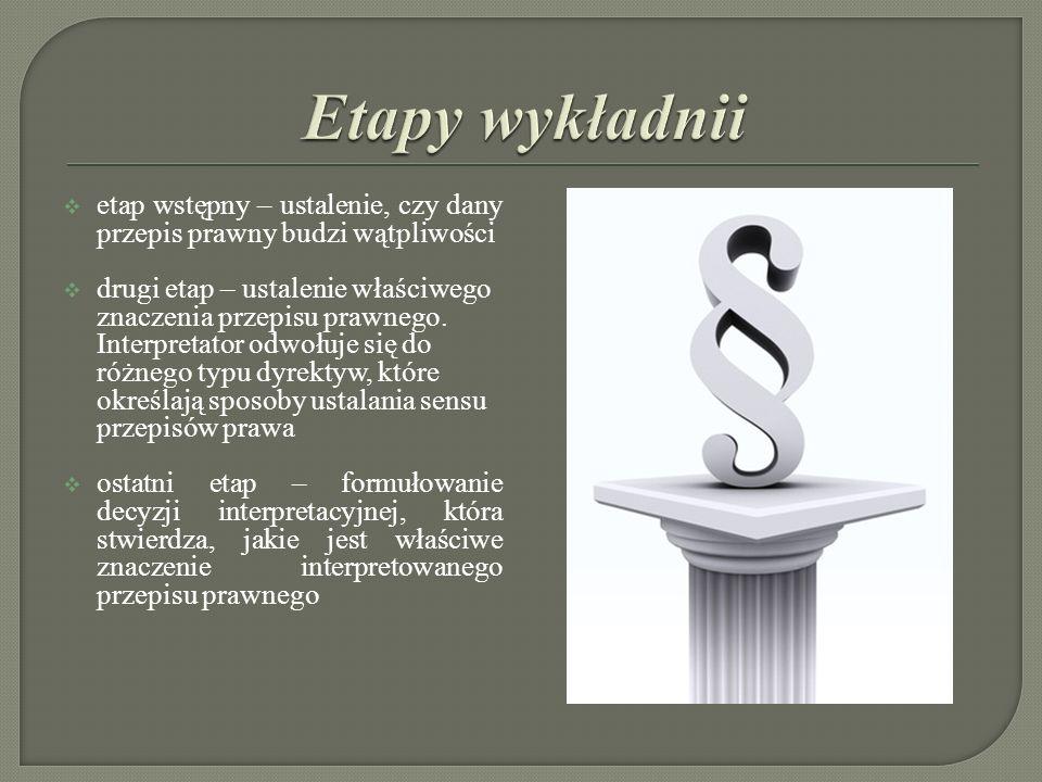 Wykładnia dosłowna (interpretatio declarativa) ma miejsce wtedy, gdy spośród różnych znaczeń uzyskanych za pomocą odmiennych dyrektyw interpretacyjnych, wybrane zostaje to rozumienie, które zostało ustalone wyłącznie za pomocą dyrektyw językowych.