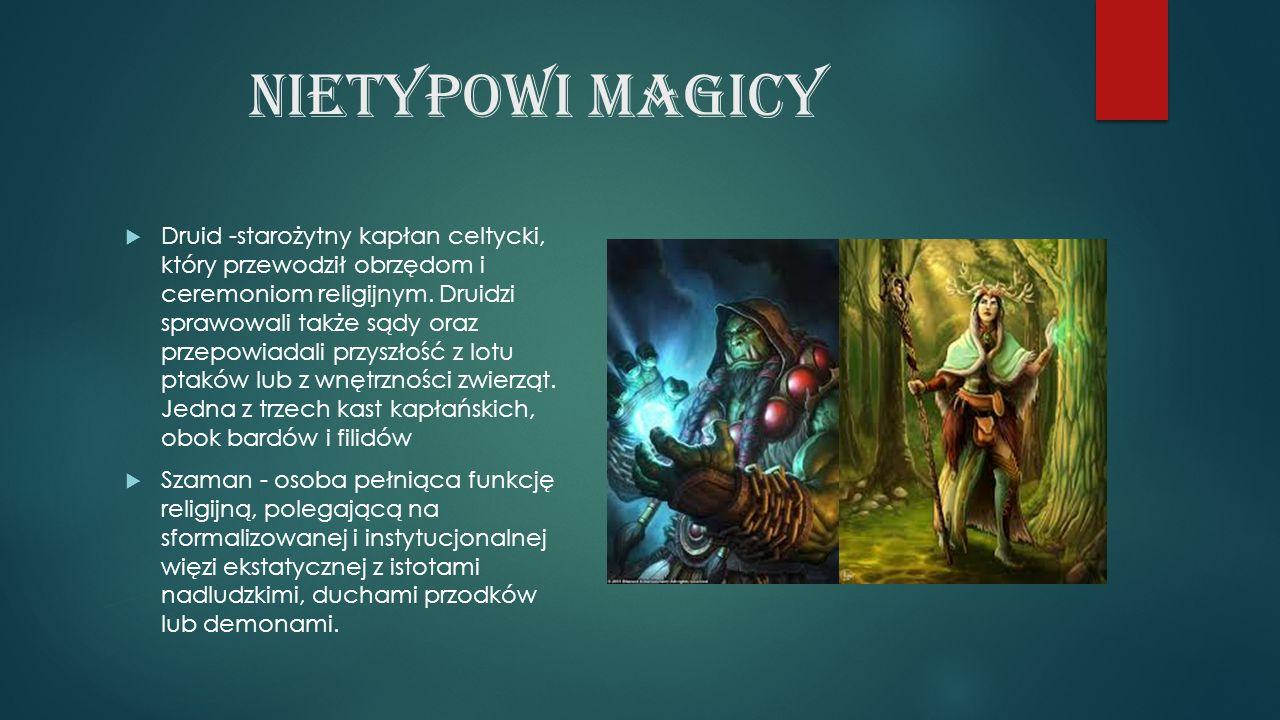 Nietypowi magicy  Druid -starożytny kapłan celtycki, który przewodził obrzędom i ceremoniom religijnym.
