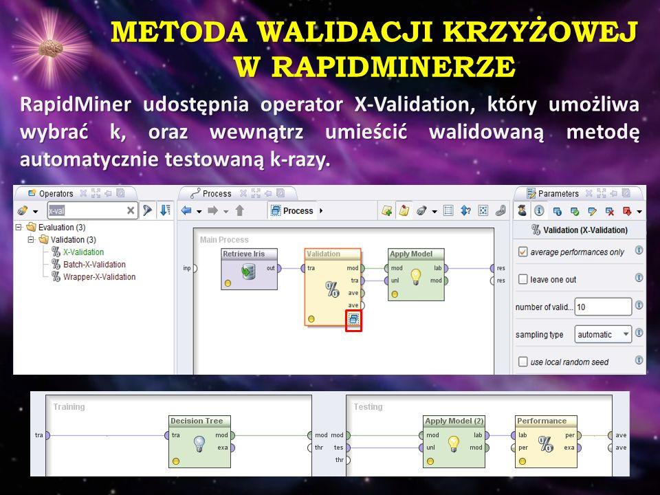 METODA WALIDACJI KRZYŻOWEJ W RAPIDMINERZE RapidMiner udostępnia operator X-Validation, który umożliwa wybrać k, oraz wewnątrz umieścić walidowaną meto