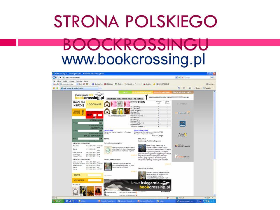 STRONA POLSKIEGO BOOCKROSSINGU www.bookcrossing.pl