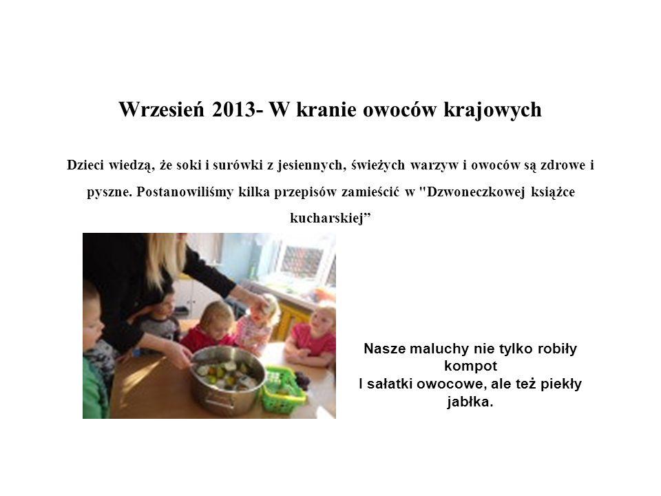 Wrzesień 2013- W kranie owoców krajowych Dzieci wiedzą, że soki i surówki z jesiennych, świeżych warzyw i owoców są zdrowe i pyszne. Postanowiliśmy ki