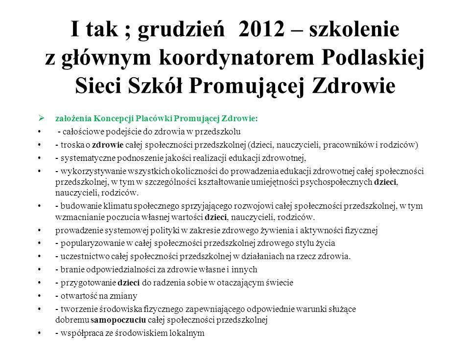 I tak ; grudzień 2012 – szkolenie z głównym koordynatorem Podlaskiej Sieci Szkół Promującej Zdrowie  założenia Koncepcji Placówki Promującej Zdrowie: