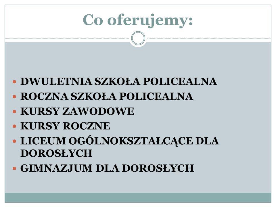 Co oferujemy: DWULETNIA SZKOŁA POLICEALNA ROCZNA SZKOŁA POLICEALNA KURSY ZAWODOWE KURSY ROCZNE LICEUM OGÓLNOKSZTAŁCĄCE DLA DOROSŁYCH GIMNAZJUM DLA DOROSŁYCH