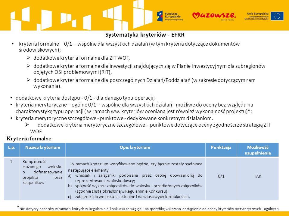 Systematyka kryteriów - EFRR kryteria formalne – 0/1 – wspólne dla wszystkich działań (w tym kryteria dotyczące dokumentów środowiskowych);  dodatkowe kryteria formalne dla ZIT WOF,  dodatkowe kryteria formalne dla inwestycji znajdujących się w Planie inwestycyjnym dla subregionów objętych OSI problemowymi (RIT),  dodatkowe kryteria formalne dla poszczególnych Działań/Poddziałań (w zakresie dotyczącym ram wykonania).