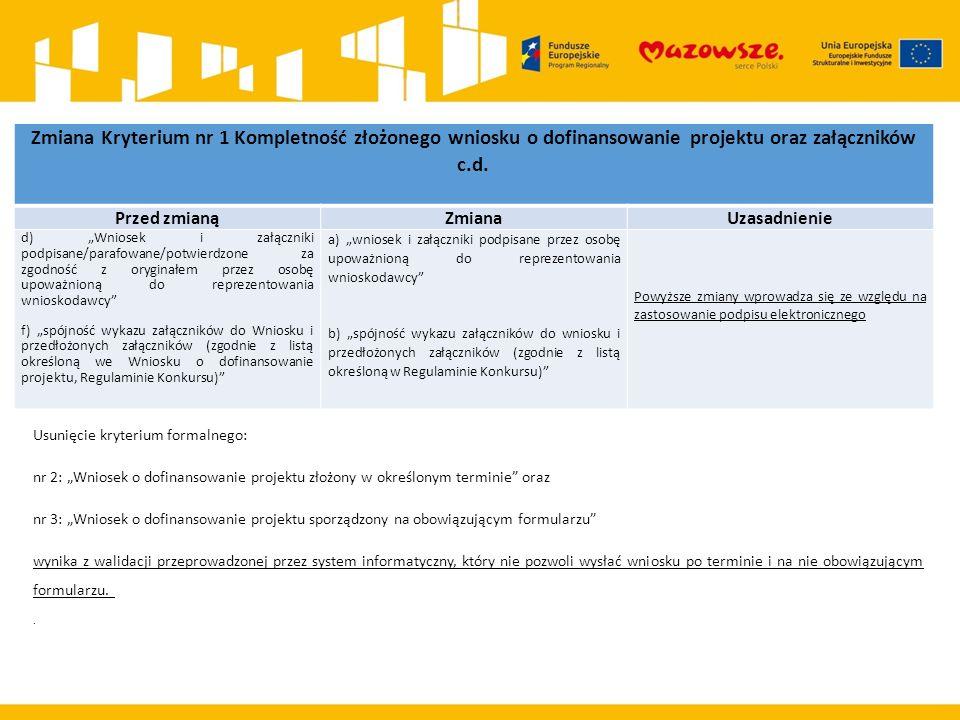 Zmiana Kryterium nr 1 Kompletność złożonego wniosku o dofinansowanie projektu oraz załączników c.d.