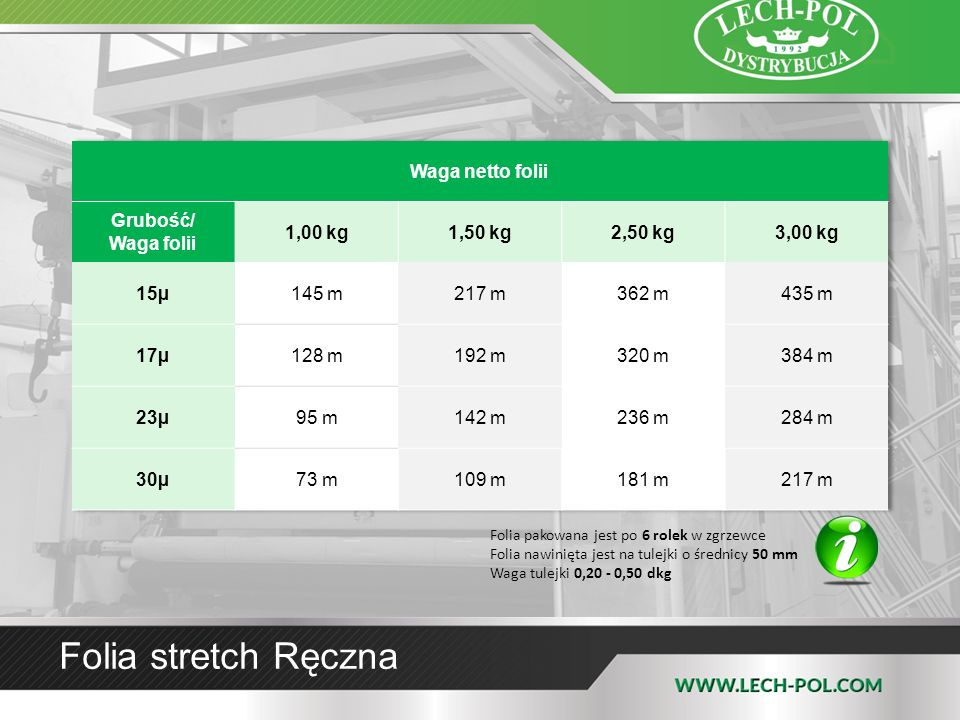 Folia stretch Ręczna Folia pakowana jest po 6 rolek w zgrzewce Folia nawinięta jest na tulejki o średnicy 50 mm Waga tulejki 0,20 - 0,50 dkg