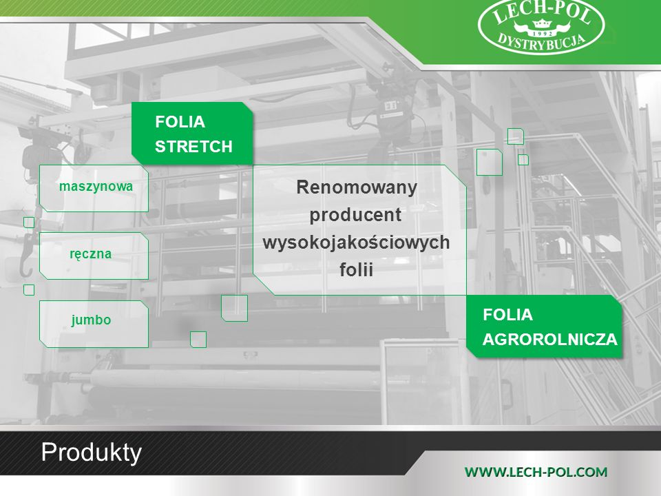 Produkty Renomowany producent wysokojakościowych folii maszynowa FOLIA STRETCH FOLIA AGROROLNICZA ręczna jumbo