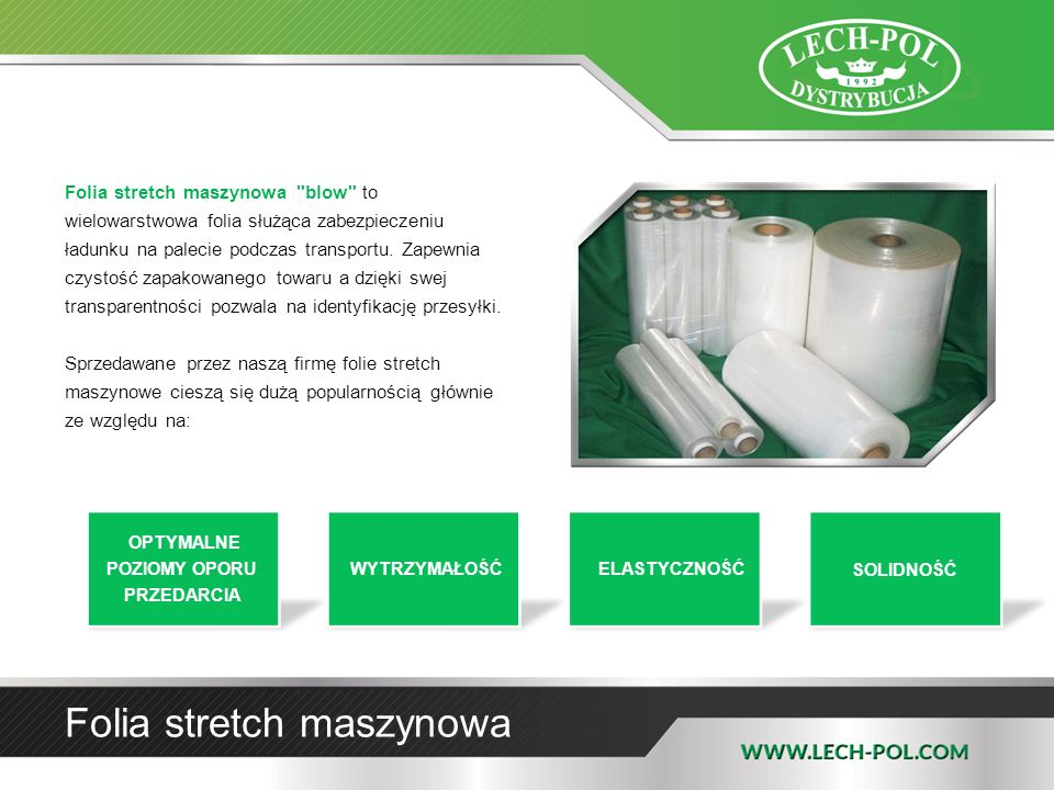 Folia Agrorolnicza Folia nawinięta jest na tulejki tekturowej o średnicy 76 mm Waga tulejki 500 mm - 1,50 kg 750 mm - 1,95 kg